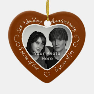 5th Wedding Anniversary Photo Ceramic Ornament