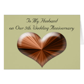 5th Wedding Anniversary to My Husband Card