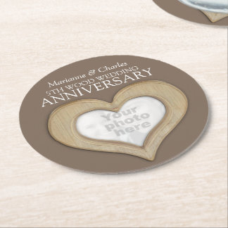 5th wood wedding anniversary heart photo coasters