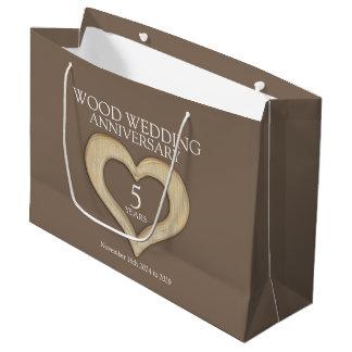 5th wood wedding anniversary photo gift bag