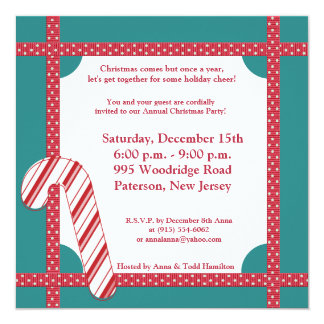 5x5 Candy Cane Stripes on Teal Invitation