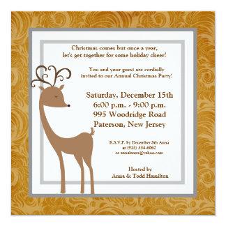 5x5 Elegant Reindeer Golden Scrolls Invitation