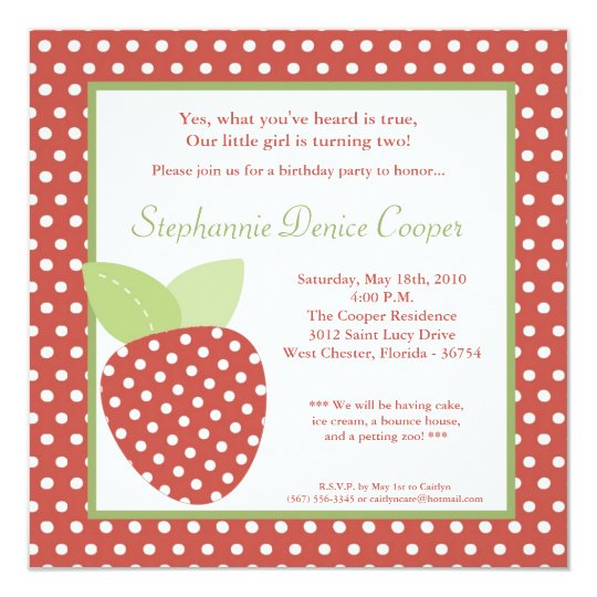 5x5 Farm Strawberry Fruit Birthday Part Invitation