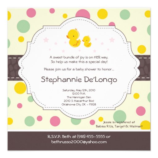 5x5 Girl Rubber Duck Duckie Baby Shower Invitation