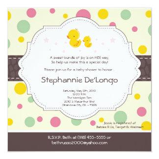 "5x5 Girl Rubber Duck Duckie Baby Shower Invitation 5.25"" Square Invitation Card"