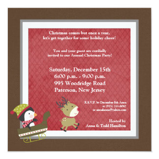 5x5 Penguin / Reindeer Christmas Games Invitation