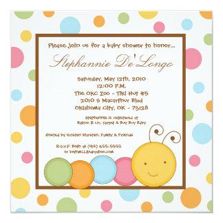 5x5 Spring Caterpillar Worm Baby Shower Invitation