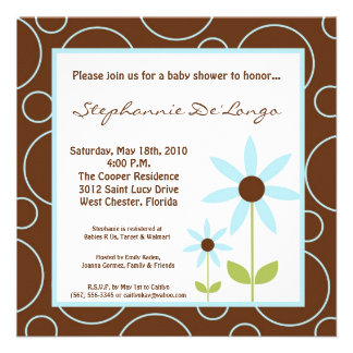 5x5 Spring Time Blue Flower Baby Shower Invitation Personalized Invites
