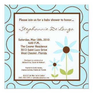 5x5 Spring Time Blue Flower Baby Shower Invitation Personalized Invite