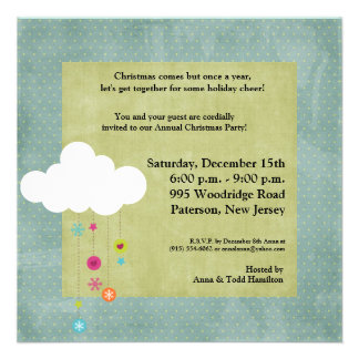 5x5 Winter Cloud Snowflakes Christmas Invitation