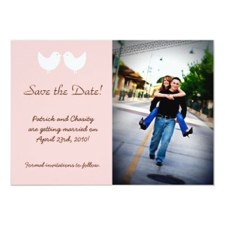 5x7 2 Love Birds Photo Save the Date Announcement