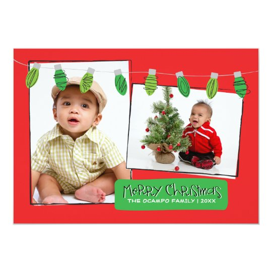 5x7 2 Photo Christmas Lights Photo Card