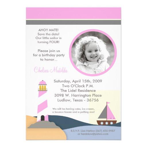 5x7 Ahoy Mate Sail Boat Birthday Party Invitation