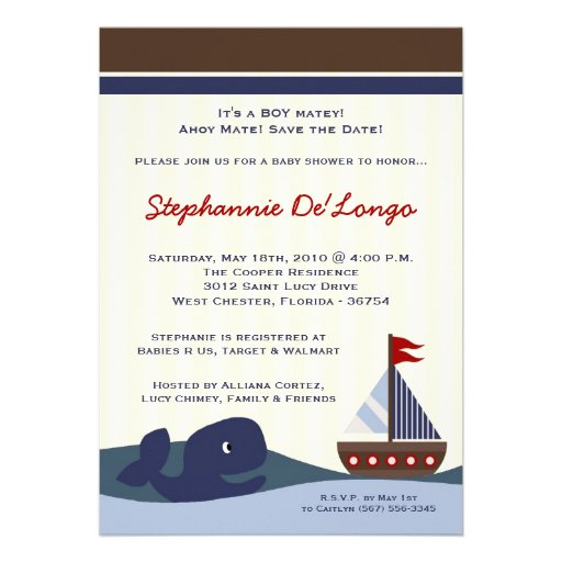 ahoy mate baby shower invitations