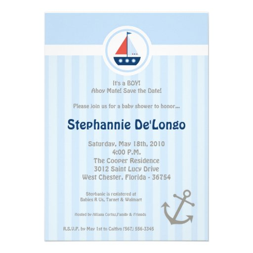 5x7 Ahoy Nautical Sail Boat Baby Shower Invitation Announcements