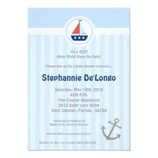 5x7 Ahoy Nautical Sail Boat Baby Shower Invitation