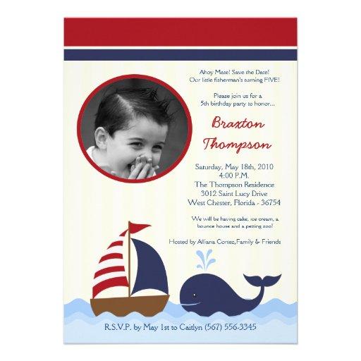 5x7 Ahoy Nautical Whale Boat Birthday Invitation