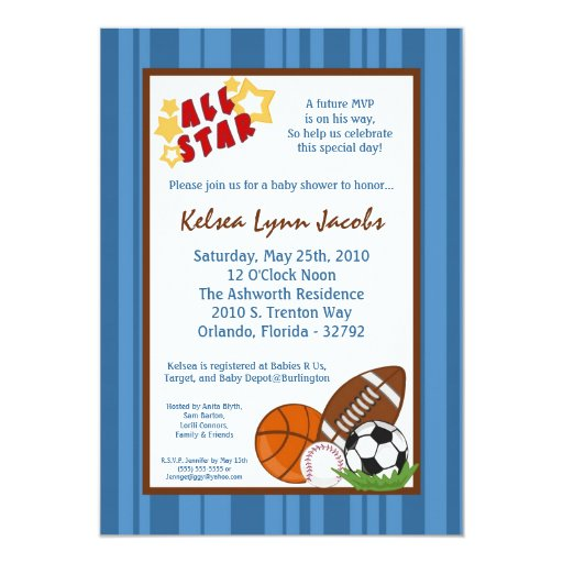 5x7 All Star MVP Sport Ball Baby Shower Invitation