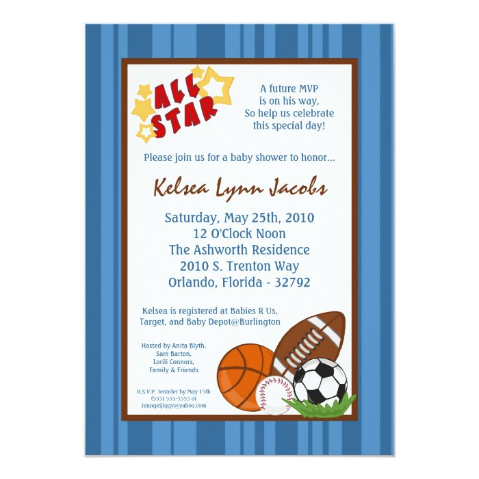 5x7 All Star MVP Sport Ball Baby Shower Invitation