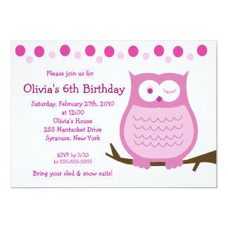 5x7 Amore Owl Pink Girl Birthday Invitation