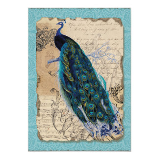 5x7 Ancient Peacock Save the Date Cards Aqua Blue Announcements