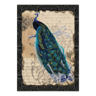 5x7 Ancient Peacock Save the Date Cards Black Tan