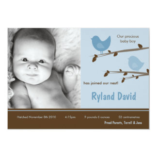 5x7 Baby Boy Blue Birdsl Photo Birth Announcement