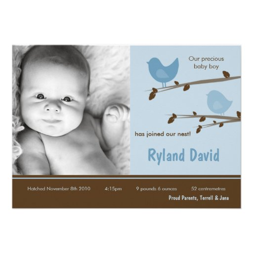 5x7 Baby Boy Blue Birdsl Photo Birth Announcement Personalized Invitations