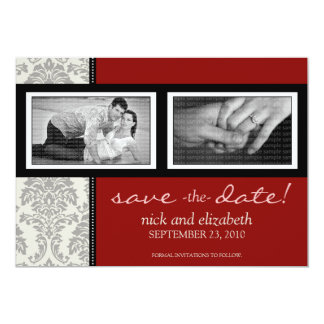 5X7 Baroque Black/Red Two-Photo Save the Date Card