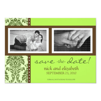 5X7 Baroque Olive/Brown Two-Photo Save the Date Card