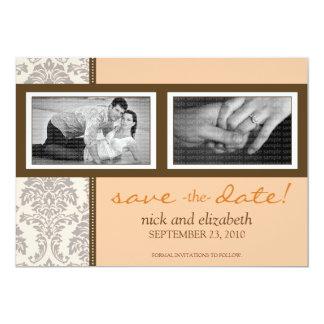 5X7 Baroque Peach/Brown Two-Photo Save the Date 13 Cm X 18 Cm Invitation Card