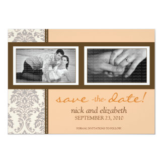 5X7 Baroque Peach/Brown Two-Photo Save the Date 5x7 Paper Invitation Card