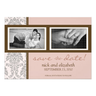5X7 Baroque Pink Brown Two-Photo Save the Date Personalized Announcements