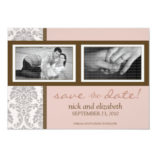 """5X7 Baroque Pink/Brown Two-Photo Save the Date 5"""" X 7"""" Invitation Card"""