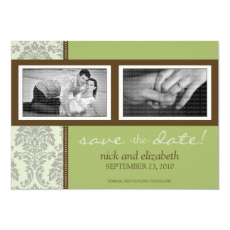 5X7 Baroque Sage/Brown Two-Photo Save the Date 13 Cm X 18 Cm Invitation Card