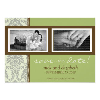 5X7 Baroque Sage/Brown Two-Photo Save the Date Custom Invite