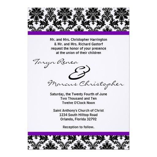 5x7 Black Damask & Purple Linen Wedding Invitation Invitation