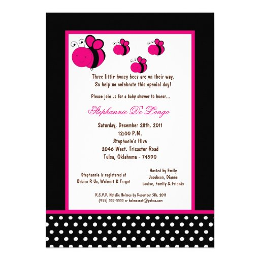 5x7 Black Honey Bee Baby Shower Personalized Announcements
