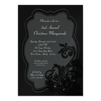 5x7 Black Masquerade Christmas XMAS Invitation