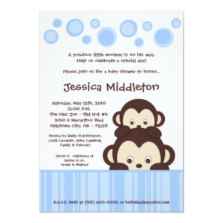 5x7 Blue Baby Pop Monkey Baby Shower Invitation