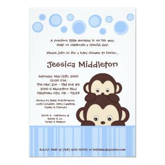 "5x7 Blue Baby Pop Monkey Baby Shower Invitation 5"" X 7"" Invitation Card"