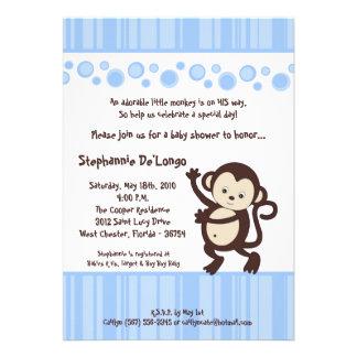 5x7 Blue Boy Pop Monkey Baby Shower Invitation Custom Invitations