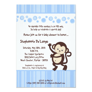 "5x7 Blue Boy Pop Monkey Baby Shower Invitation 5"" X 7"" Invitation Card"