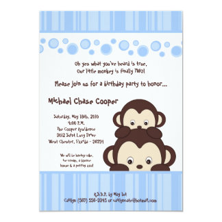 5x7 Blue Boy Pop Monkey Birthday Invitation