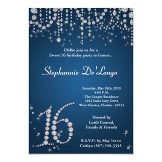 "5x7 Blue Diamond Sweet 16 Birthday Invitation 5"" X 7"" Invitation Card"