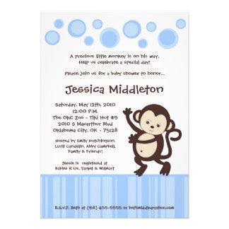 5x7 Blue Pop Monkey Dance Baby Shower Invitation