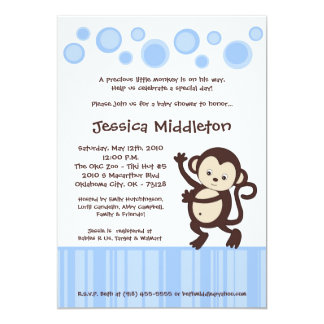 5x7 Blue Pop Monkey Dance Baby Shower Invitation