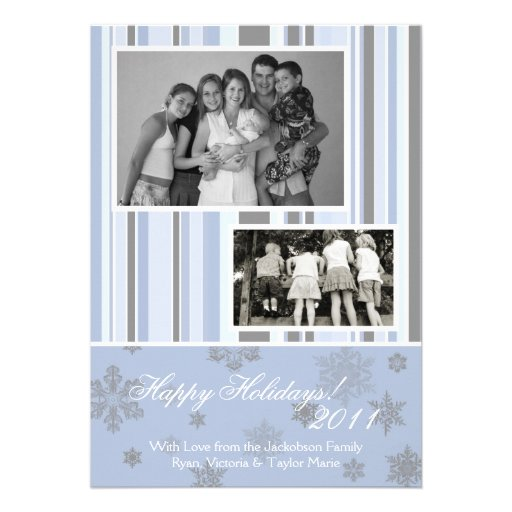 5x7 Blue & Silver Snowflake PHOTO Christmas Card Invites