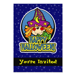 """5x7 Blue Witch Girl Halloween Party Invitations 5"""" X 7"""" Invitation Card"""