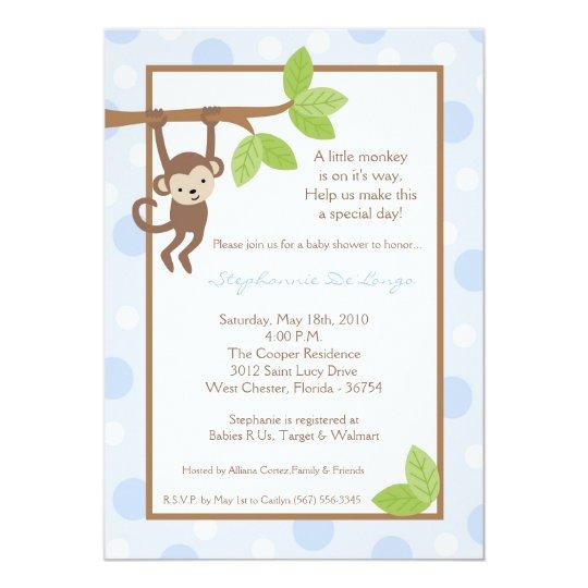 5x7 Boy Blue Monkey Jungle Baby Shower Invitation
